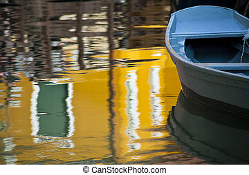 Blue boat and reflection, Burano, Italy, near Venice