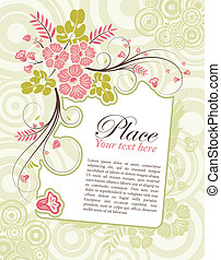 Flower frame with bud, element for design, vector...