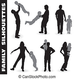 Silhouette Happy Family - Collect vector Silhouette Happy...