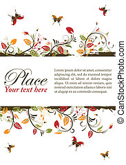 Floral frame - Grunge decorative floral frame with...