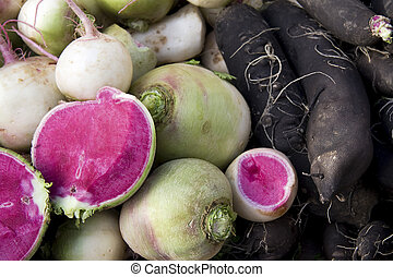 Black and watermelon radishes - Unusual radishes. Heritage...