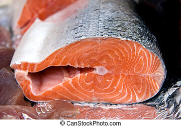 Salmon - A cross section of a salmon for sale at a fish...