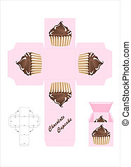 Chocolate cupcake gift box - A template for a cupcake gift...