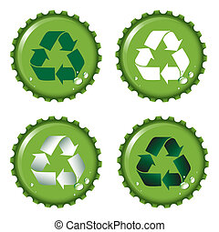 Bottle tops recycle - Green bottle tops with recycle emblem...