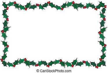 Holly frame - A vector illustration of holly leaves creating...