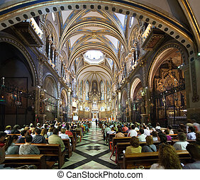 Worshipers during worship in catholic church - SANTA MARIA...