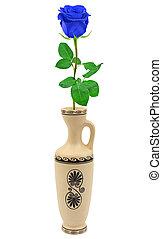 Blue rose in retro vase