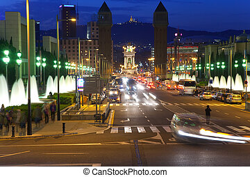 Nightly life in Barcelona - Nightly life in streets of...