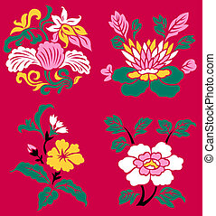 パターン, 植物, 花, 芸術的