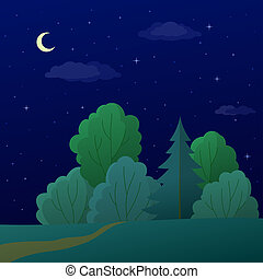 Landscape, forest edge, summer night