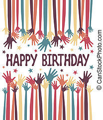 Happy birthday hands vector - Happy birthday hands vector in...
