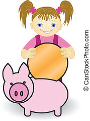 Girl and  piggy bank