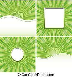 Set of green abstract backgrounds, vector illustration