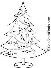 Christmas fur-tree, contours - Christmas fur-tree with toys...