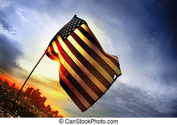 Old Glory - Wide angle photo of a tattered American flag...