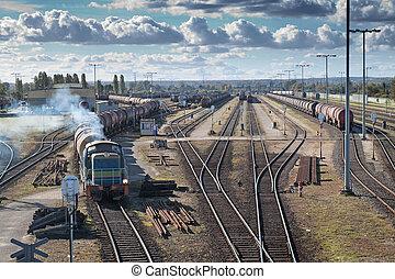 Transportation on a railway Big station
