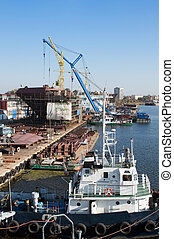 Shipyard - ship in a dry dock