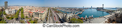 Panorama view of Barcelona port. Spain