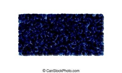 blue bubbles and cells explosion debris.