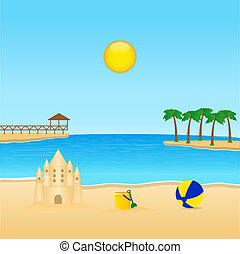 Tropical landscape with sandcastle