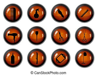 Hairdressing Buttons - Twelve buttons with Hairdressing...