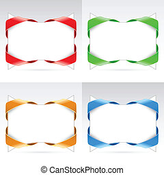 Set of white blanks with ribbon. Illustration on white...