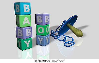 Baby and boy words with a pacifier - Baby and boy words with...