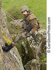 ロープ, 兵士, 武装させられた, 掛かること