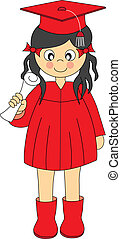 Graduation girl - Illustration of a girl Wearing Graduation...
