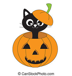 Cat in a pumpkin - vector halloween pumpkin. Cat in a...