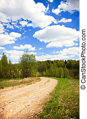 Country road under blue sky with white clouds, vertical shot