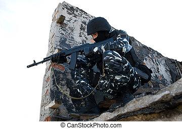 soldado, rifle, Apuntar, escondite, postion