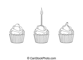 Cupcake colouring page - A vector illustration of cupcakes....