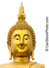 giant buddha head - wat muang giant buddha face isolated on...