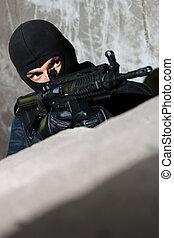armado, terrorista, apontar, alvo