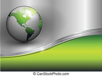Business background, metallic green with earth globe, vector...