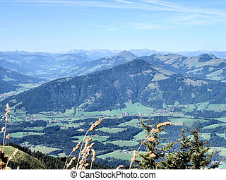 Autumn in Tirol, Austria; mountains and valleys; sunny day