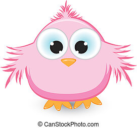 Cartoon pink sparrow Illustration on white background
