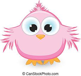 Cartoon pink sparrow