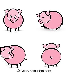 Four abstract pigs in different positions Illustration on...