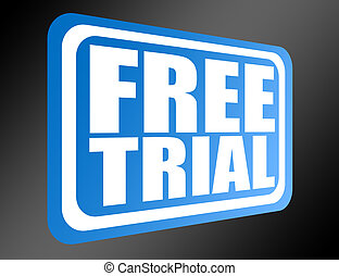blue free trial - blue tag free trial over black...