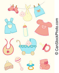 baby icons set - set of vector hand drawn baby icons
