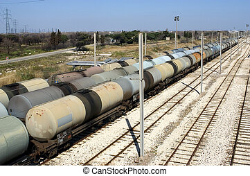 oil trains in the French industrial park of Fos on sea...