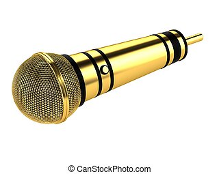 Gold microphone isolated on white background