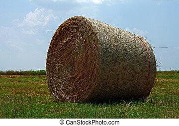 A bale of hay in an open field