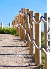 caminho, madeira, poste, cerca