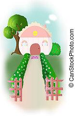 cozy home - a house with a garden