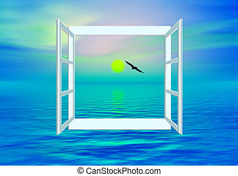 Salvation - Ocean view through open window for worship and...