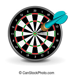 Dartboard with Dart on white background