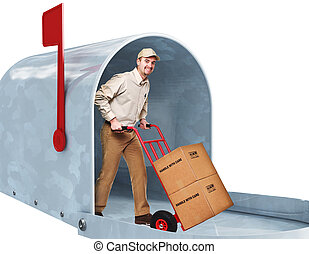 home delivery - smiling delivery man in 3d metal classic...